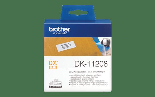 Oriģināls Brother DK-11208 marķēšanas lentes rullis - melnas drukas balts, 38mm x 90mm