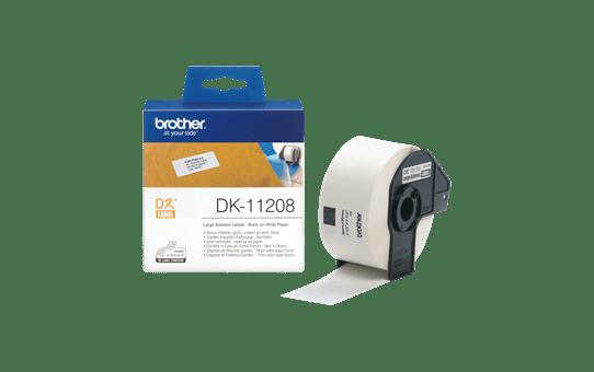 Rolă de etichete originală Brother DK-11208 – negru pe alb, 38mm x 90mm 3
