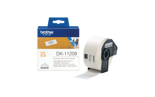 Oriģināls Brother DK-11208 marķēšanas lentes rullis - melnas drukas balts, 38mm x 90mm 3