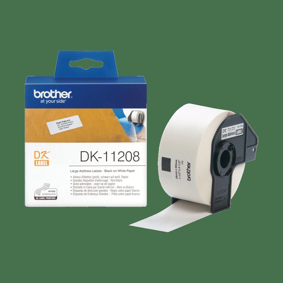 Rolo de etiquetas autocolantes DK11208 Brother