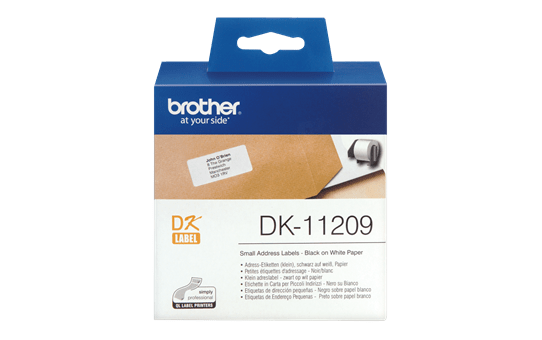 Brother original DK-11209 små adressetiketter - svart på vit 29 mm x 62 mm