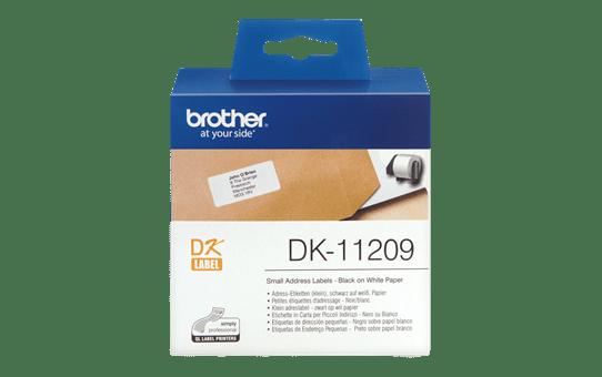 Brother DK11209: оригинальная лента для печати наклеек черным на белом фоне, в одном экземпляре, 29 мм х 62 мм.