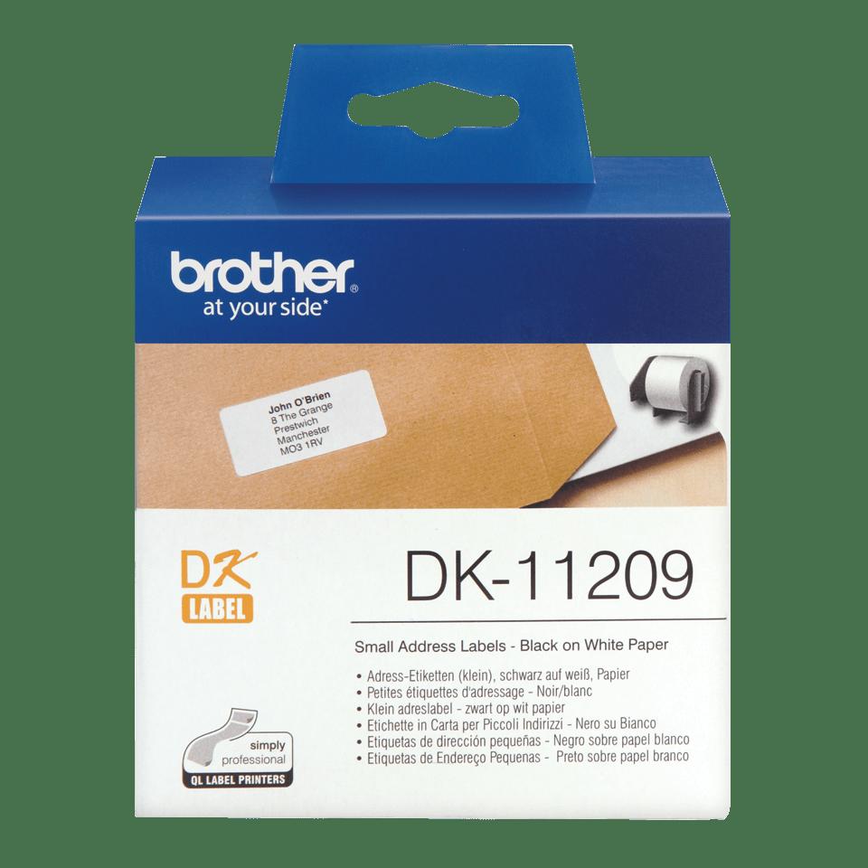Originele Brother DK-11209 voorgestanst klein adreslabel – zwart op wit, 62 mm x 29 mm