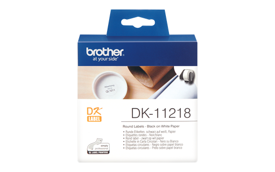 Brother original DK11218, etikettrulle, svart på vit, Ø 24 mm