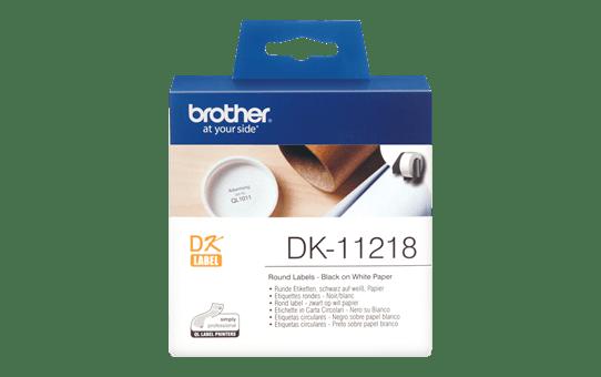 Oryginalne okrągłe etykiety DK-11218 firmy Brother (czarny nadruk na białym tle) o średnicy  24mm