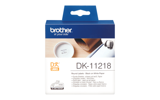 Genuine Brother DK-11218 Label Roll – Black on White, 24mm diameter round label