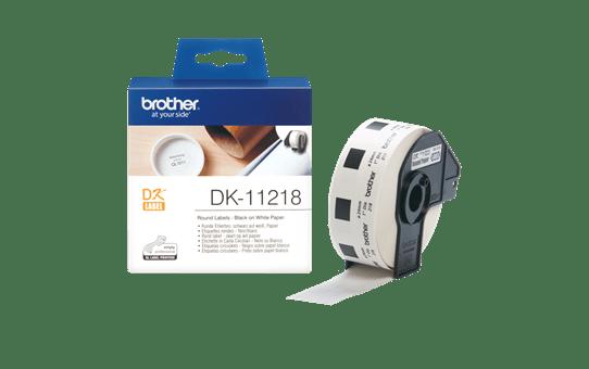Brother DK11218: оригинальная кассета с лентой для печати круглых наклеек черным на белом фоне, диаметр: 24 мм. 3