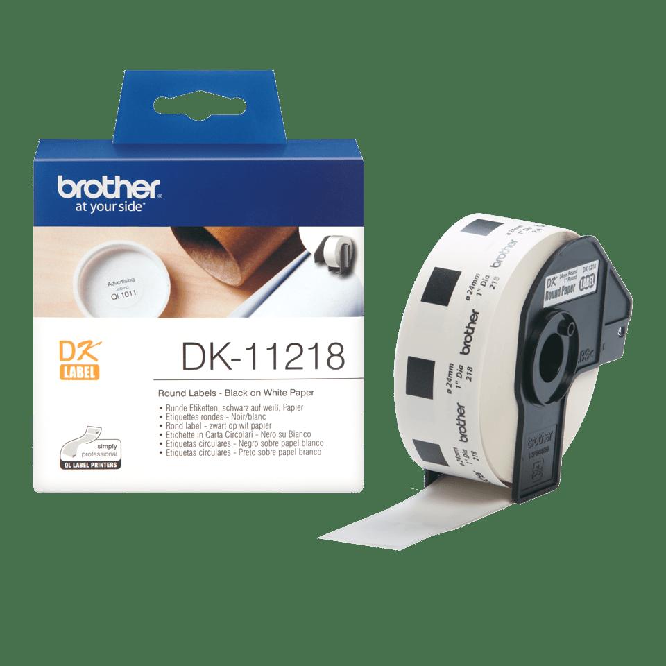 Brother original DK11218, etikettrulle, svart på vit, Ø 24 mm 3