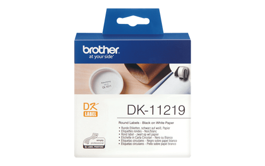 Originele Brother DK-11219 labelrol – zwart op wit, diameter 12 mm
