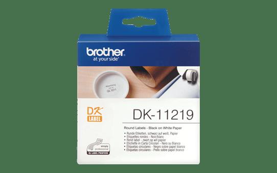 Rolă de etichete rotunde originală Brother DK-11219 – negru pe alb, diametru de 12mm
