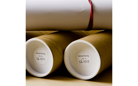 Brother DK-11219 juodų raidžių baltame fone etikečių ritinėlis – 12 mm apvalios formos etiketės 2