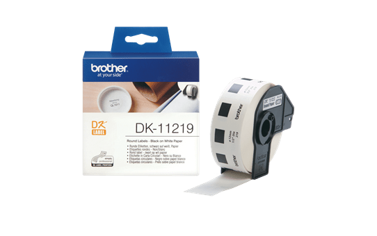 Originele Brother DK-11219 labelrol – zwart op wit, diameter 12 mm 3