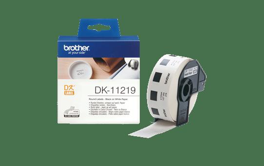 Original Brother DK11219 rund label – sort på hvid, Ø 12 mm 3