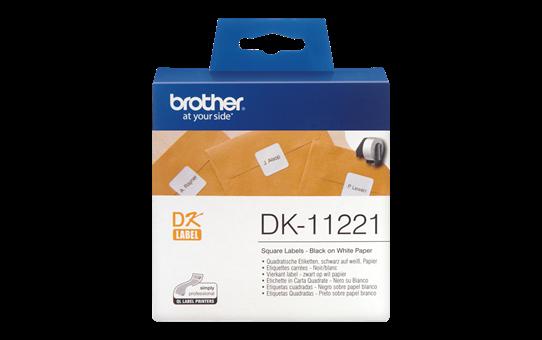 Originele Brother DK-11221 voorgestanst vierkant label - papier - zwart op wit, 23 mm x 23 mm