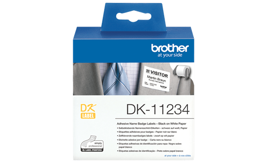 Genuine Brother DK-11234 Adhesive Visitor Badge Label Roll – Black on White, 60mm x 86mm