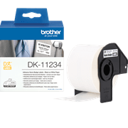 Brother DK-11234 adhesive visitor badge label roll and outer carton packaging shot