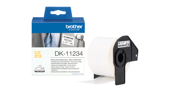 Genuine Brother DK-11234 Adhesive Visitor Badge Label Roll – Black on White, 60mm x 86mm 3