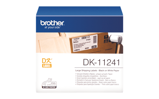 Brother DK-11241 juodų raidžių baltame fone etikečių ritinėlis – 102 mm x 152 mm