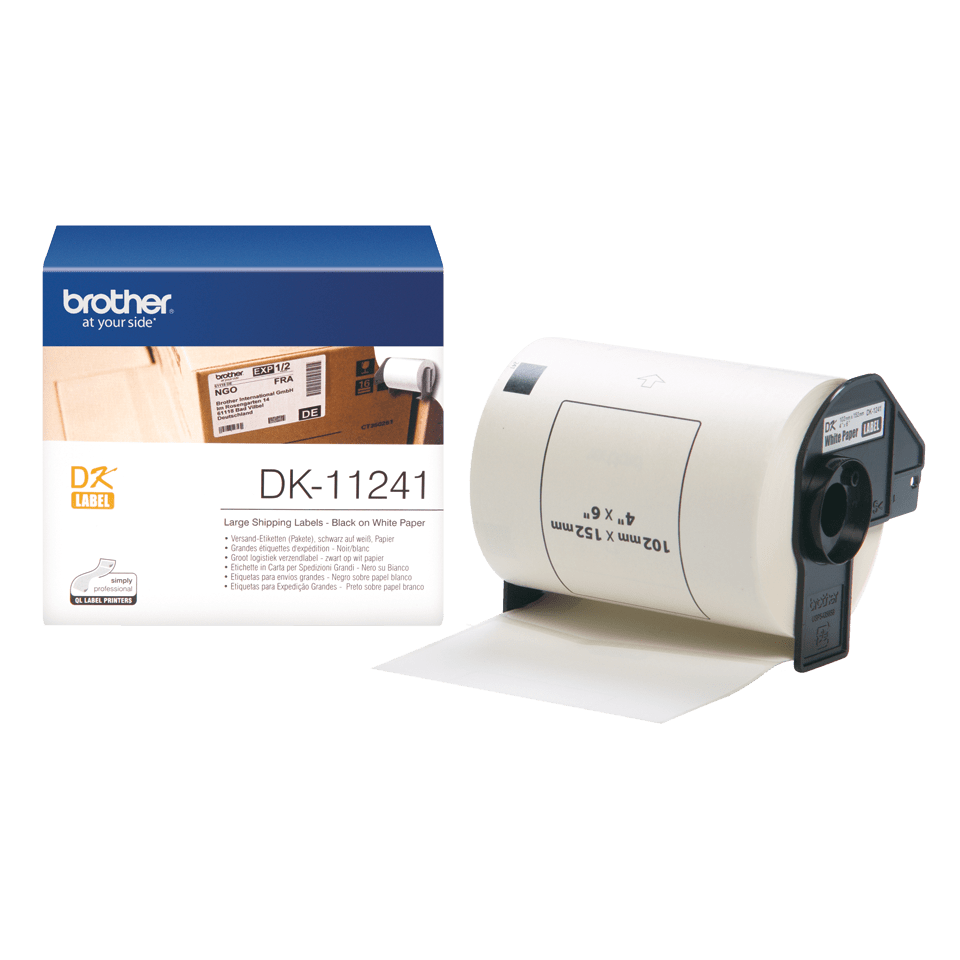 Genuine Brother DK-11241 Label Roll – Black on White, 102mm x 152mm 3