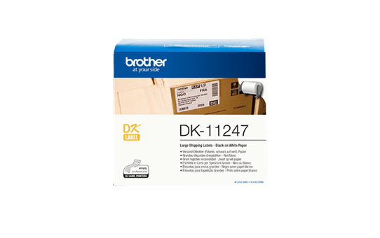 Genuine Brother DK-11247 Label Roll – Black on White, 103mm x 164mm
