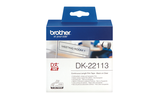 Original Brother DK22113 taperull i plastfilm i løpende lengde – sort på klar, 62 mm 2