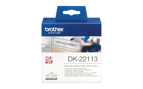 Original Brother DK22113 plastiktape, endeløs bane – sort på klar, 15,24 m 2