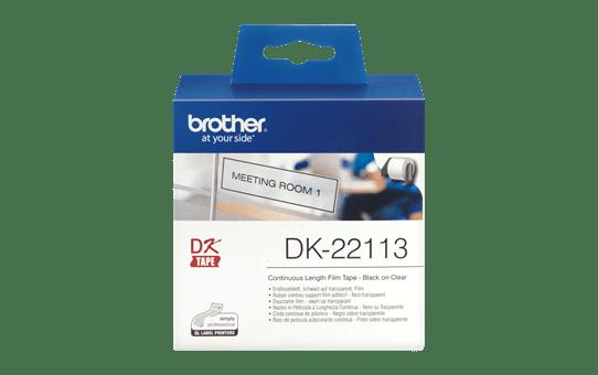 Rolă continuă de film originală Brother DK-22113 – negru pe transparent, lățimea de 62mm. 2