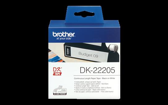 Brotherin alkuperäinen DK22205-rullatarra - Musta/valkoinen, 62 mm