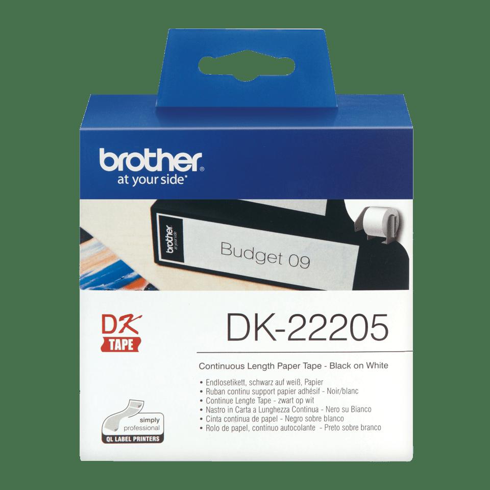 Oriģināls Brother DK-22205 vienlaidu garuma, papīra uzlīmju rullis - melnas drukas, balts - 62mm plata lenta
