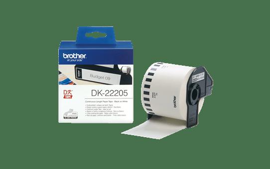 Brother DK22205: неразрезанная бумажная лента для печати наклеек черным на белом фоне, ширина: 62 мм. 3