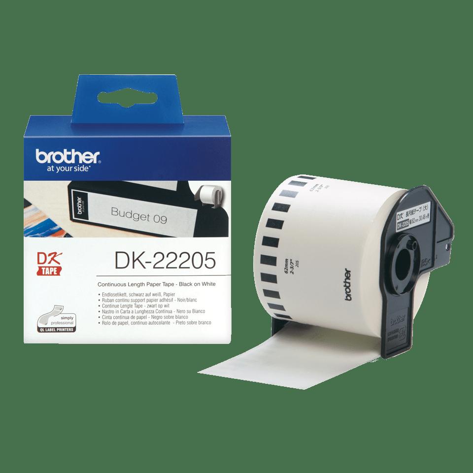 Oriģināls Brother DK-22205 vienlaidu garuma, papīra uzlīmju rullis - melnas drukas, balts - 62mm plata lenta 3