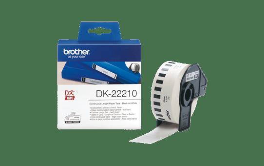Originele Brother DK-22210 doorlopende labelrol – papier – zwart op wit, breedte 29 mm 3