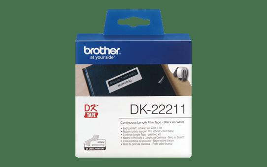 DK22211 - original hvid Brother-labelrulle med filmtape-labels