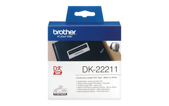 Genuine Brother DK-22211 Continuous Film Label Roll – Black on White, 29mm.
