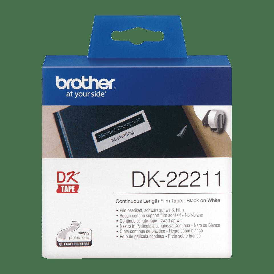 Oriģināls Brother DK-22211 vienlaidu garuma uzlīmju lentes rullis – melnas drukas balta lente, 29mm.