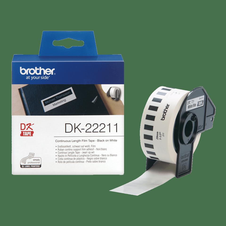 Oriģināls Brother DK-22211 vienlaidu garuma uzlīmju lentes rullis – melnas drukas balta lente, 29mm. 3