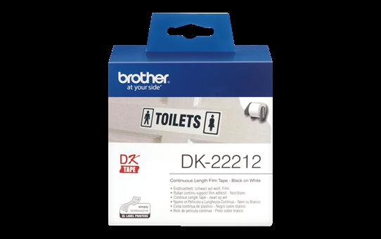 Original DK-22212 Endlosetikettenrolle von Brother – Schwarz auf Weiß, Film, 62mm breit