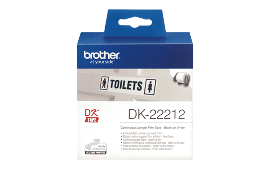 Genuine Brother DK-22212 Continuous Film Label Roll – Black on White, 62mm