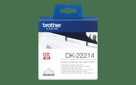 Original Brother DK22214 papirtape, endeløs bane – sort på hvid, 12 mm bred