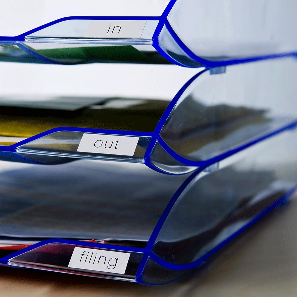 Original Brother DK22214 papirtape, endeløs bane – sort på hvid, 12 mm bred 2