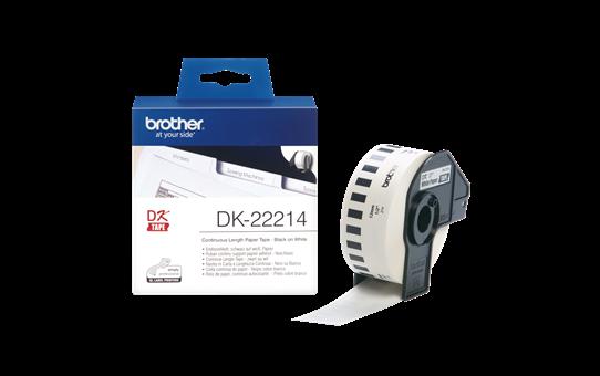 Original Brother DK22214  taperull i papir i løpende lengde – sort på hvit, 12 mm bred 3