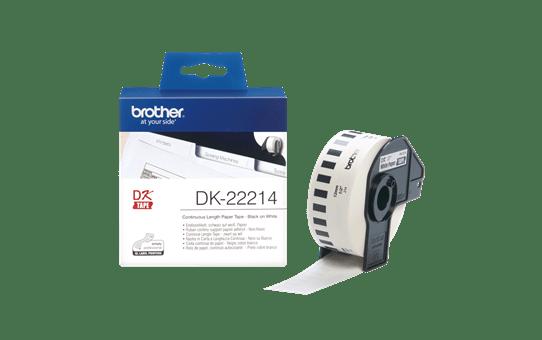 Brother original DK22214, etiketter på fortlöpande rulle, svart på vit, 12 mm  3