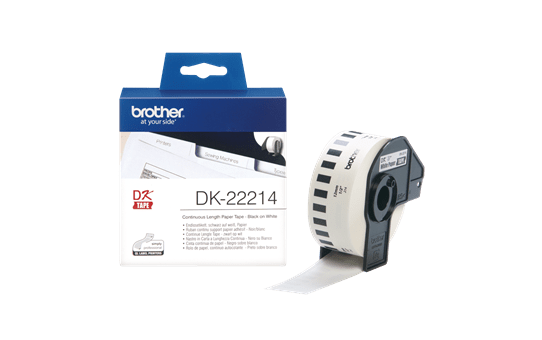 Original DK-22214 Endlosetikettenrolle von Brother – Schwarz auf Weiß, Papier, 12mm breit 3