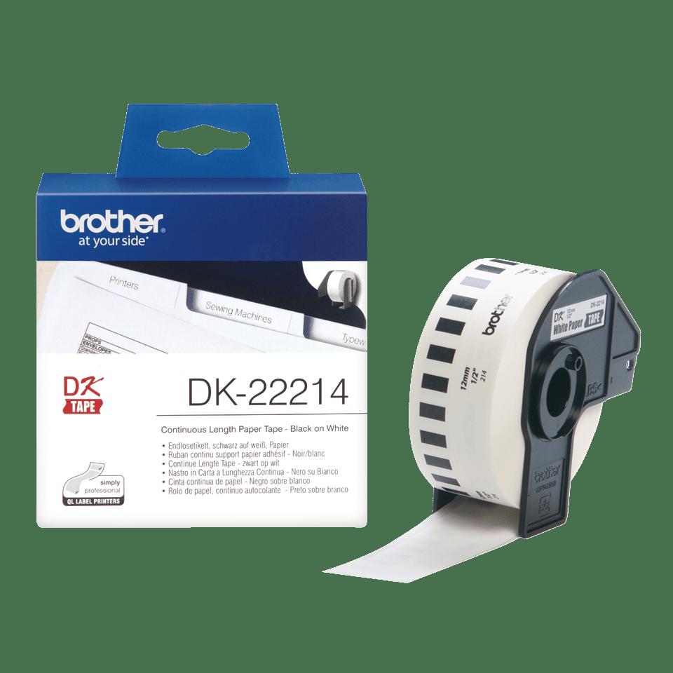 Originální Brother DK-22214 kontinuální papírová páska - černá na bílé, šířka 12 mm 3