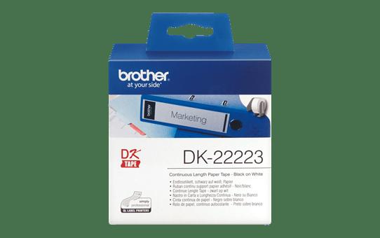 Original Brother DK22223 papirtape, endeløs bane – sort på hvid, 50 mm bred