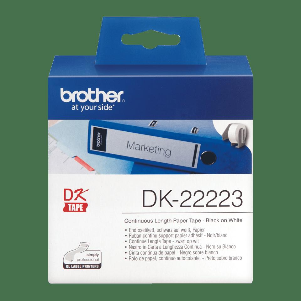 Oriģināls Brother DK-22223 vienlaidu garuma papīra uzlīmju rullis - melnas drukas balta lente - 50mm plata