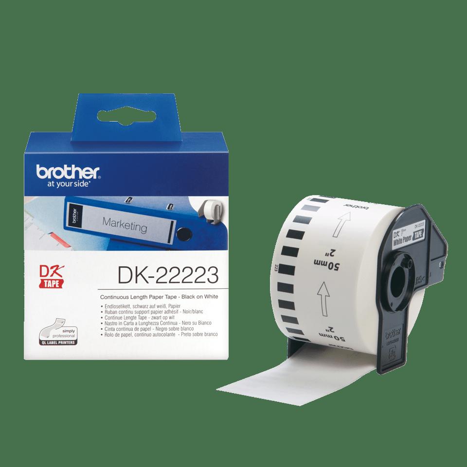 Oriģināls Brother DK-22223 vienlaidu garuma papīra uzlīmju rullis - melnas drukas balta lente - 50mm plata  3