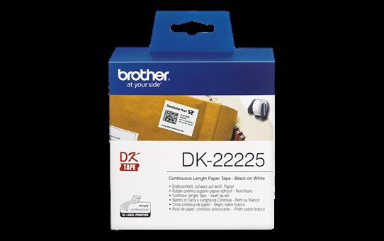 Rotolo di etichette di carta a lunghezza continua originale Brother DK-22225 – Nero su bianco, 38 mm di larghezza 2