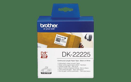 Original DK-22225 Endlosetikettenrolle von Brother – Schwarz auf Weiß, Papier, 38mm breit 2