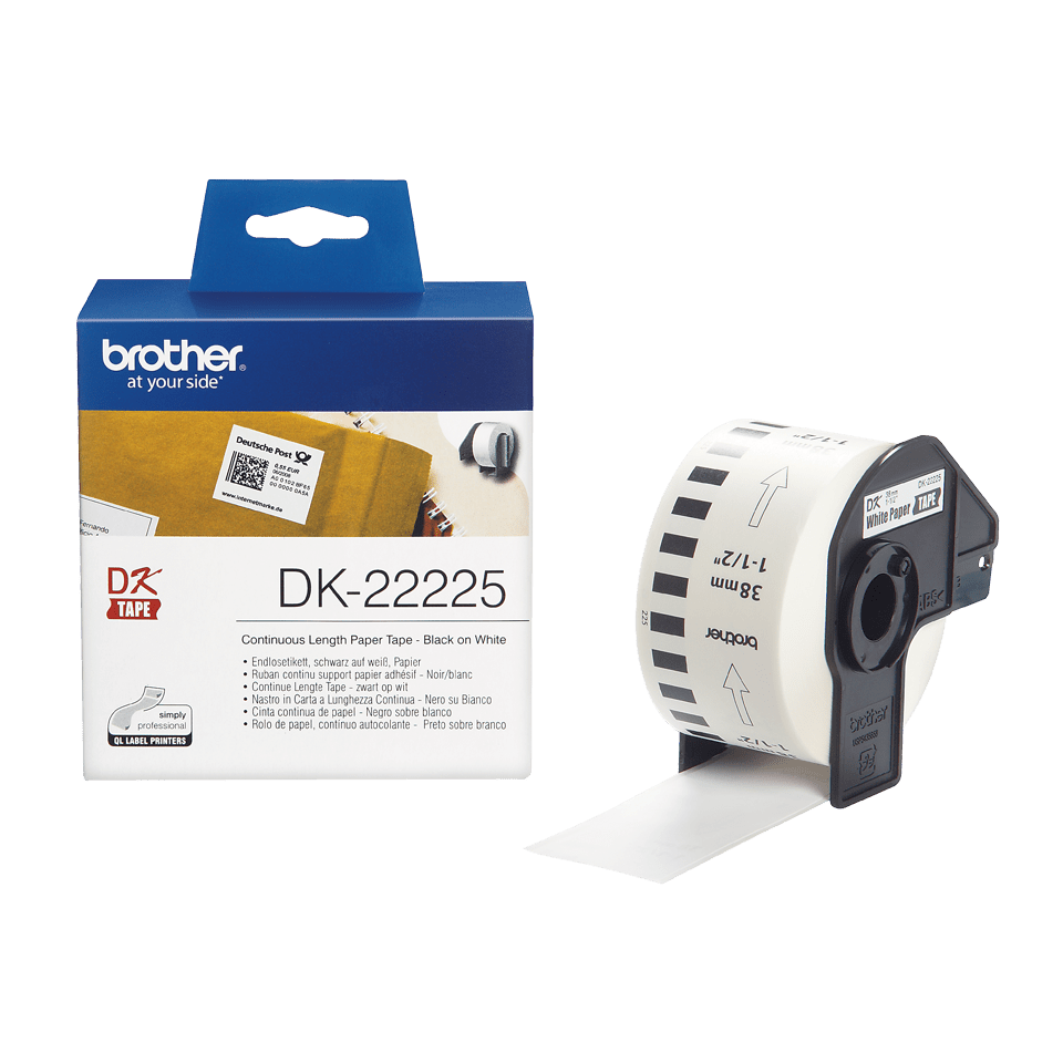 Genuine Brother DK-22225 Continuous Paper Label Roll – Black on White, 38mm wide
